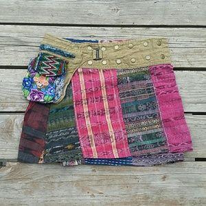 Multicolor Wrap Mini Skirt Sz Small Medium Boho